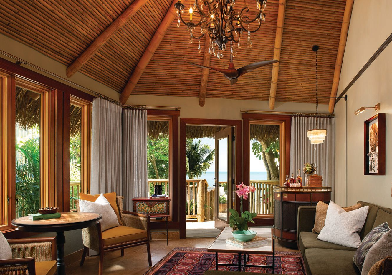 Vaulted ceilings and British West Indies-inspired decor make for alluring accommodations PHOTO COURTESY OF LITTLE PALM ISLAND RESORT & SPA