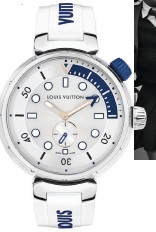 Louis Vuitton Tambour Street Diver timepiece in Pacific White and Skyline Blue, louisvuitton.com. LOUIS VUITT ON PHOTO COURTESY OF BRAND